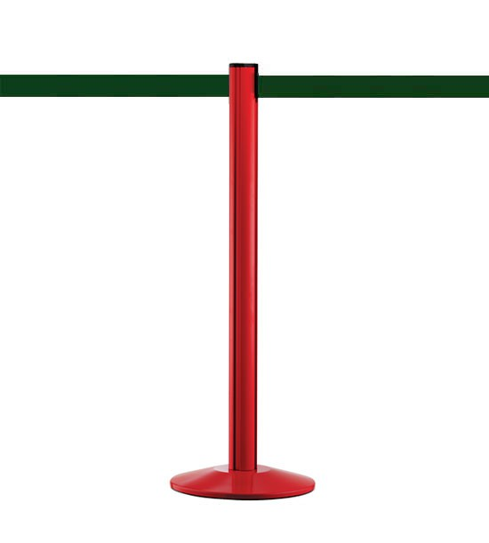Poteau guide file rouge, sangle verte