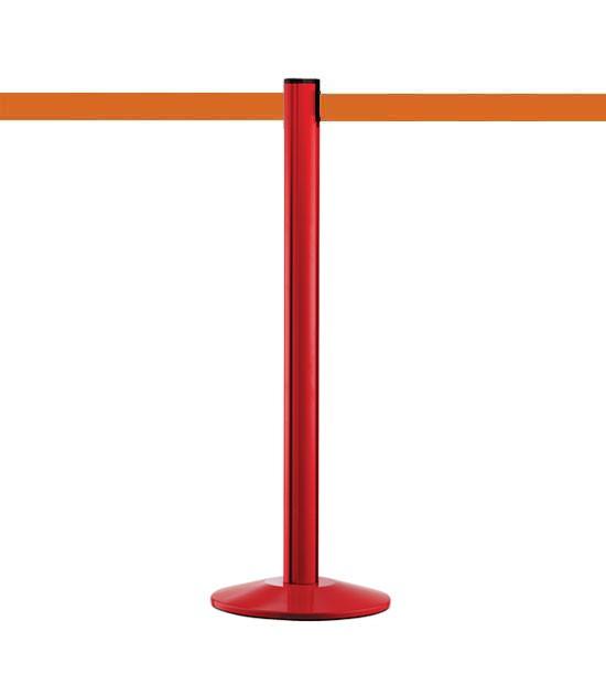 Poteau guide file rouge, sangle orange