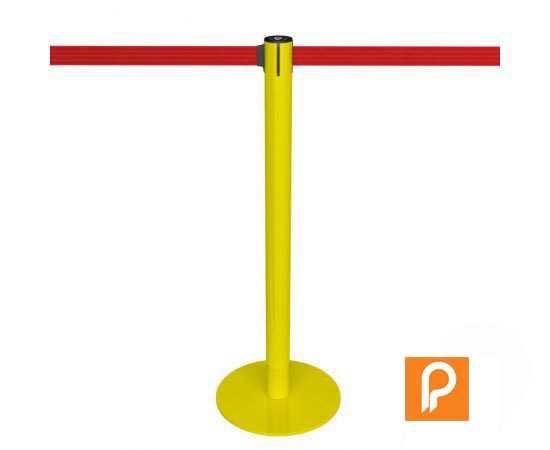 Poteau de guidage jaune, ici présenté avec une sangle rouge (nombreux autres coloris disponibles)