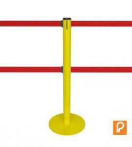 Poteau de guidage jaune à double sangle