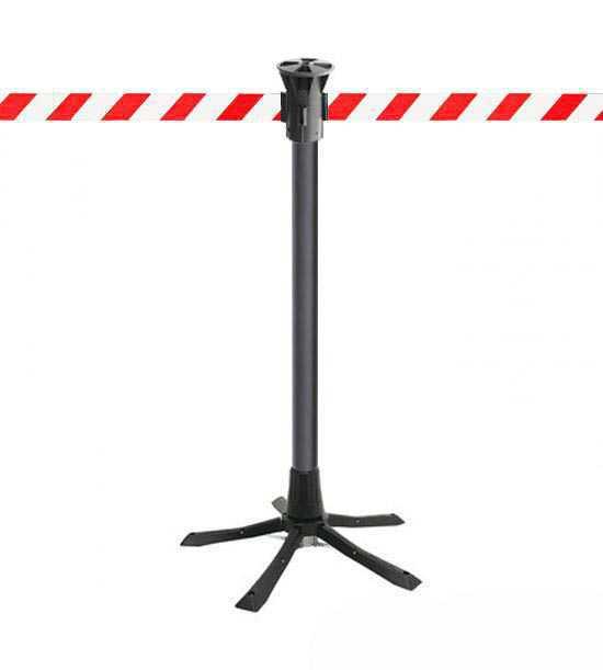 Poteau de balisage, sangle rouge blanc, à déploiement rapide, idéal pour chantiers ou interventions!