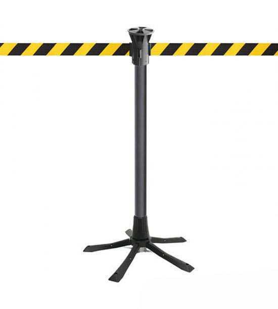 Poteau de balisage, sangle jaune noir, à déploiement rapide, idéal pour chantiers ou interventions!