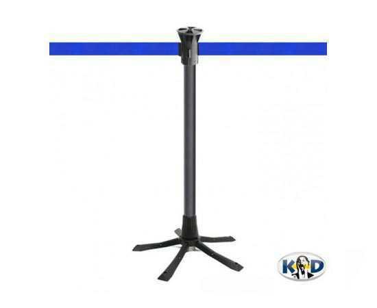 Poteau de balisage, sangle bleue, à déploiement rapide, idéal pour chantiers ou interventions!