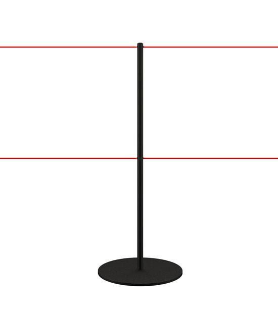 Poteau de délimitation - noir - double corde