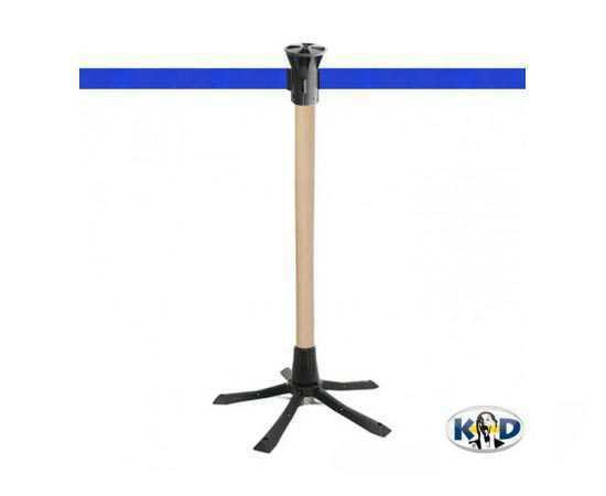Poteau de guidage bois, sangle bleue