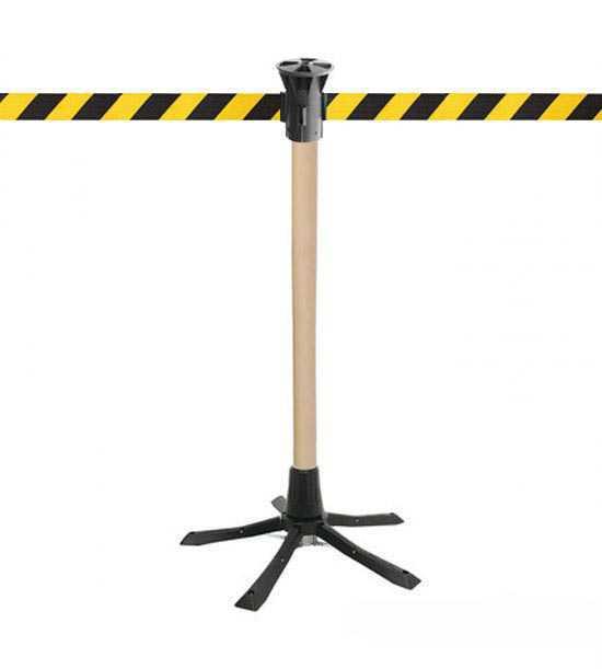 Poteau de guidage bois, sangle jaune/noir pour intervention ou chantier