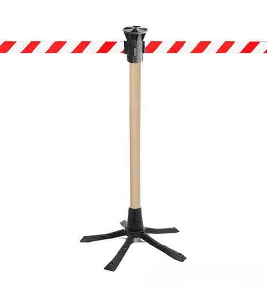 Poteau de guidage bois, sangle rouge/blanc pour intervention ou chantier