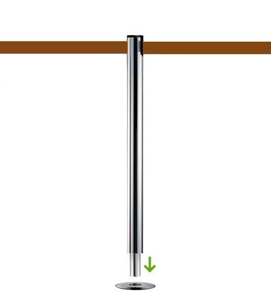 Poteau de guidage à sangle brune (à sceller) - BELTRAC CLASSIC CHROME