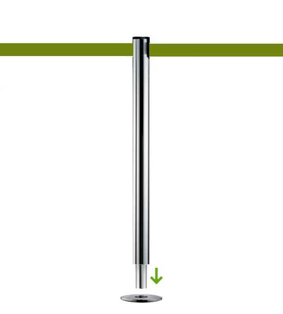 Poteau de guidage à sangle olive vert (à sceller) - BELTRAC CLASSIC CHROME