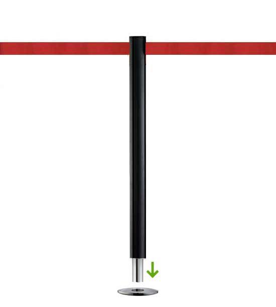 Poteau de guidage à sangle (à sceller) - Noir, sangle rouge 2,3m