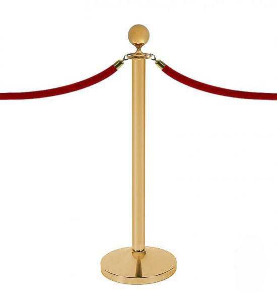 Poteau à cordons doré équipé de 2 cordons velours.