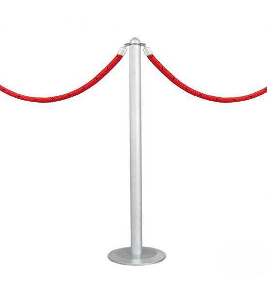 Poteau de balisage à cordes TEX ALU avec cordons rouges.