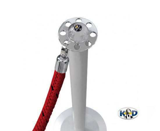 Poteau de guidage à cordons avec cordon rouge