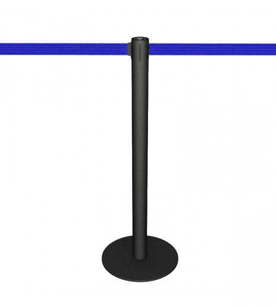 Poteau de guidage noir, sangle bleue