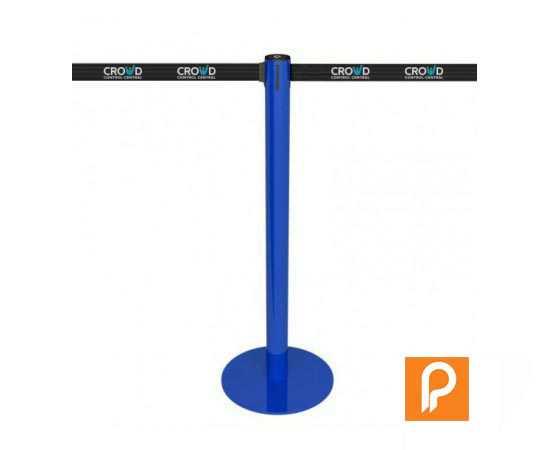 Poteau de balisage bleu, sangle rétractable personnalisable