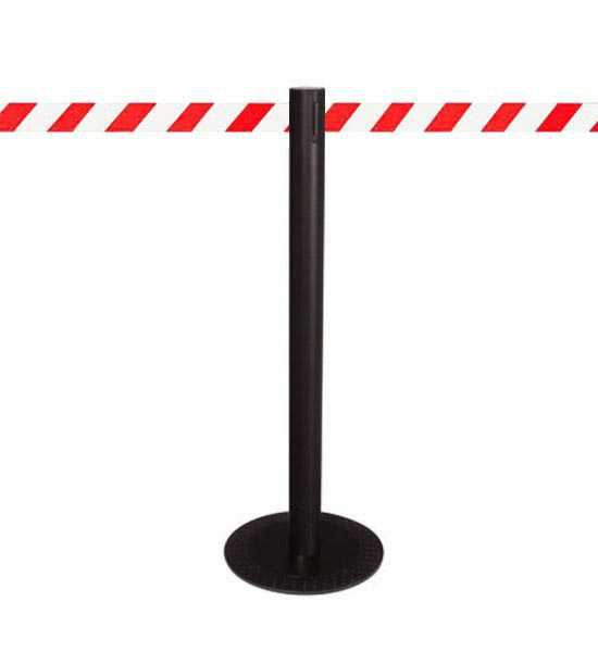 Poteau aluminium MASTER BLACK, sangle rouge/blanc