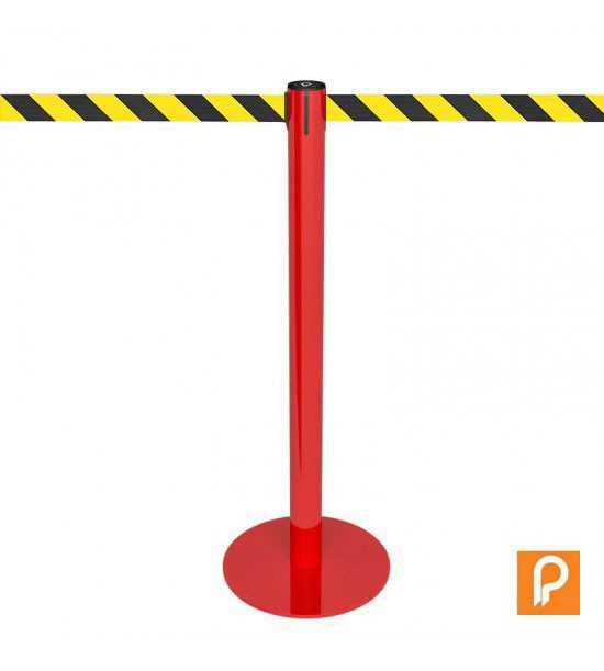 Poteau de guidage rouge, sangle jaune/noir