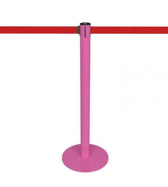 Potelet pour file d'attente rose, sangle rouge - Fabricant / marque Potelet