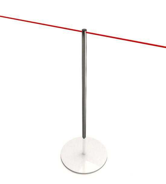 Poteau de guidage pour musées, cordelette élastique rouge, noire, grise ou blanche à commander séparément