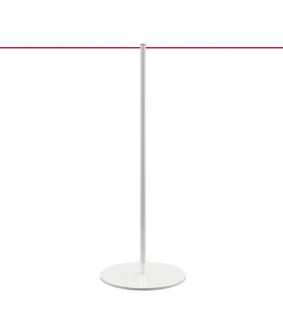 Poteau à corde blanc pour musées et galeries d'art, cordon rouge (à commander séparément)