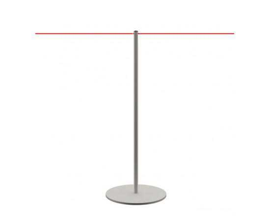 Poteau de guidage pour musées avec corde élastique rouge.