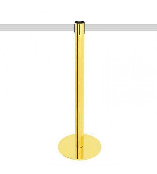 Poteau de balisage doré avec sangle en blanc