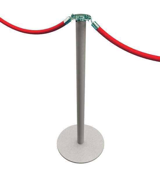 Poteau d'accueil à cordons, finition gris argenté