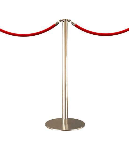 Poteau de guidage a cordon, finition acier inoxydable brossé (satiné) - Cordon rouge
