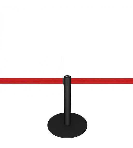 Potelet (h 50cm) noir, sangle rouge
