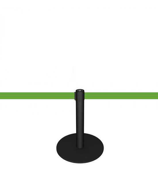 Zwart afzetpaaltje met groen lint