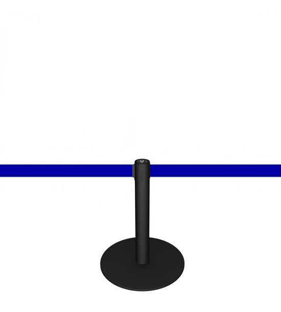 Mini poteau (+-50cm) de balisage à sangle bleue.