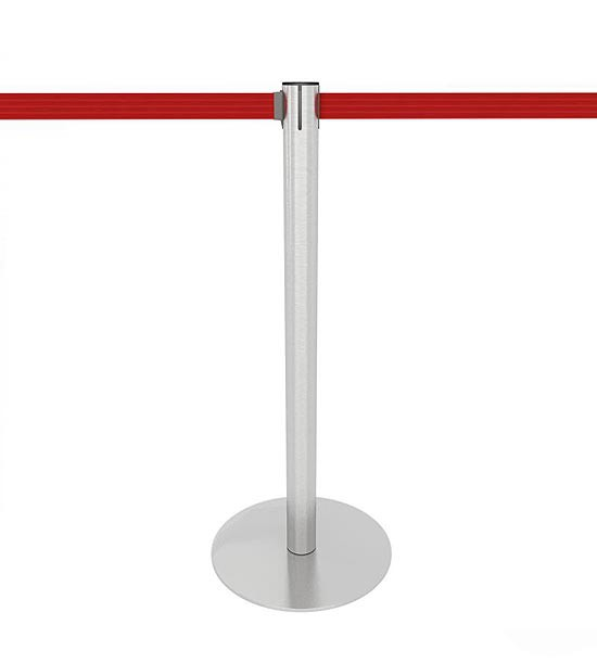 Poteau de balisage inox brossé, sangle rouge