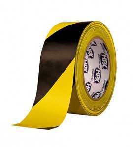 Ruban de balisage adhésif jaune/noir (33m)