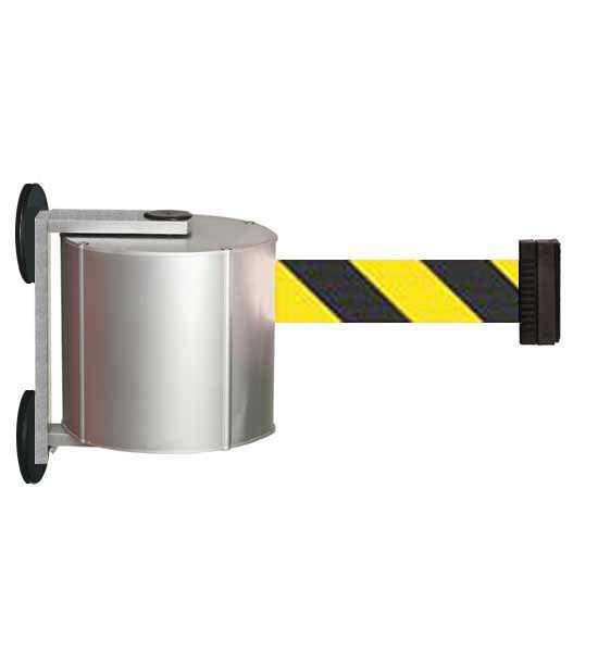 """Enrouleur de ceinture XXL (12 ou 22m): ceinture jaune/noir """"sécurité"""" avec fixation magnétique"""