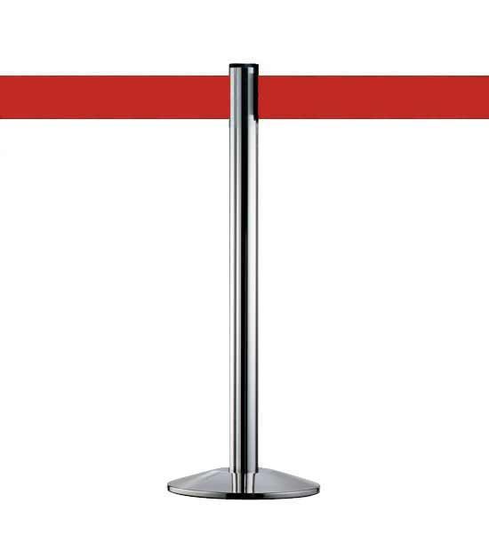 Poteau à sangle rétractable d'une hauteur de 10cm, rouge