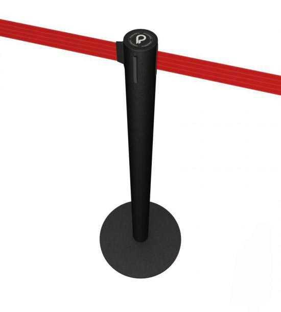 Poteau de balisage noir à sangle rouge, bleue ou noire