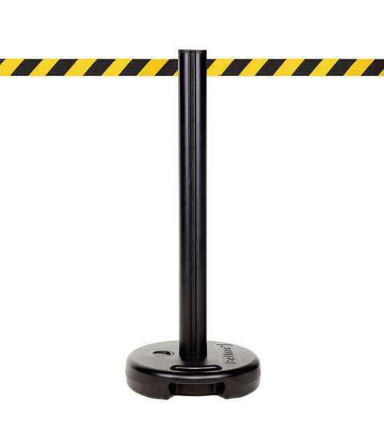 Poteau de guidage plastique PVC extérieur lestable, sangle jaune/noir