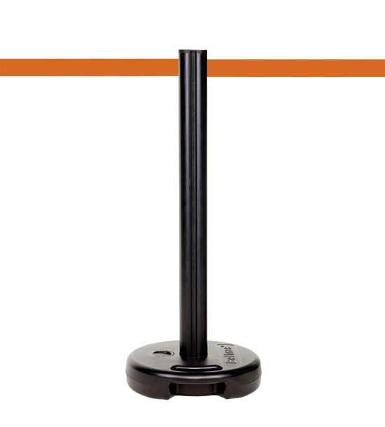 Poteau de guidage plastique PVC extérieur lestable, sangle orange